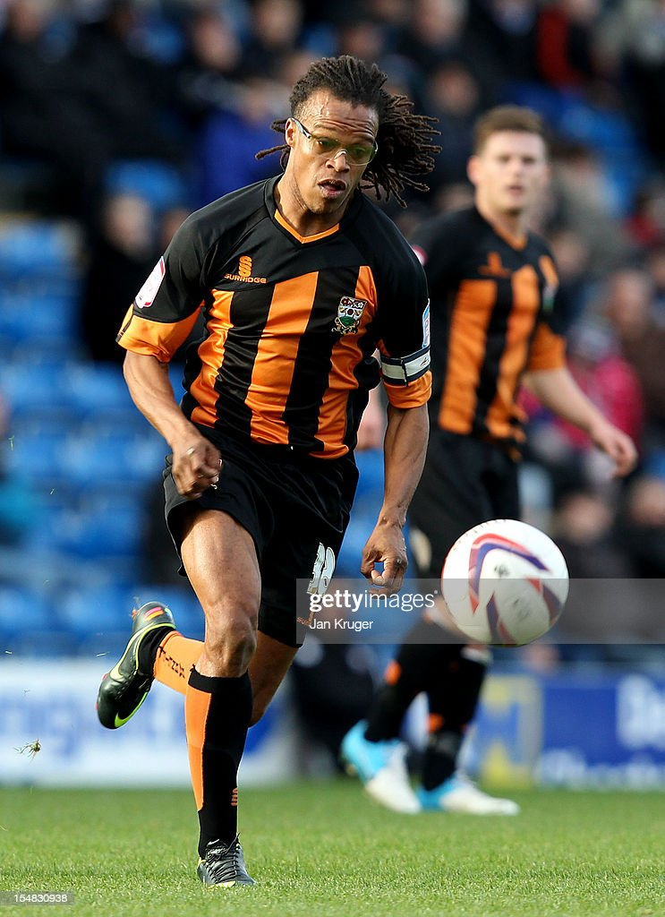 <a gi-track='captionPersonalityLinkClicked' href=/galleries/search?phrase=Edgar+Davids&family=editorial&specificpeople=213130 ng-click='$event.stopPropagation()'>Edgar Davids</a> of Barnet FC in action uring the npower League Two match between Chesterfield and Barnet at Proact Stadium on October 27, 2012 in Chesterfield, England.