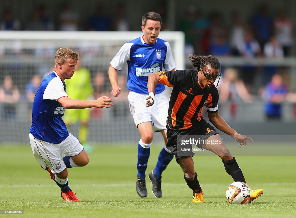 <a gi-track='captionPersonalityLinkClicked' href=/galleries/search?phrase=Edgar+Davids&family=editorial&specificpeople=213130 ng-click='$event.stopPropagation()'>Edgar Davids</a> of Barnet in action during the pre season friendly match between Barnet and Ipswich Town at The Hive on July 20, 2013 in Barnet, England.