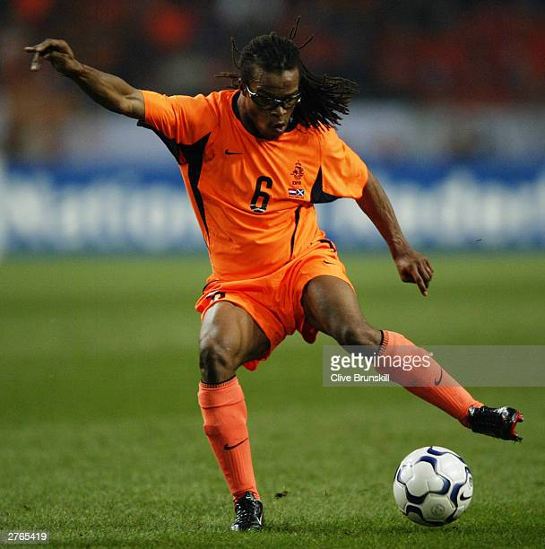 Edgar Davids of Holland charges forward during the UEFA European Championships 2004 PlayOff second leg match between Holland and Scotland held on...