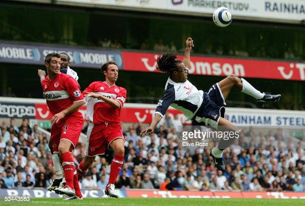 Edgar Davids of Tottenham attempts and overhead kick during the Barclays Premiership match between Tottenham Hotspur and Middlesbrough at White Hart...