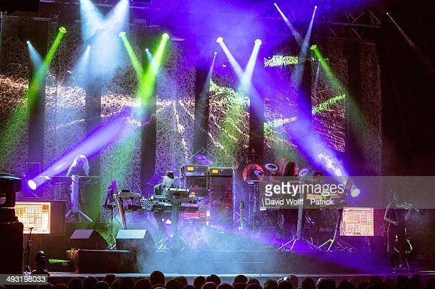 Edgar Froese and Thorsten Quaeschning from Tangerine Dream perform at Le Trianon on May 22 2014 in Paris France