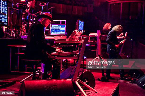 Edgar Froese and Thorsten Quaeschning of Tangerine Dream performs on stage at Royal Albert Hall on April 1 2010 in London England