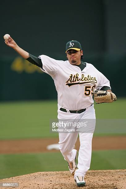 Edgar Gonzalez of the Oakland Athletics pitches during the game against the Arizona Diamondbacks at the Oakland Coliseum on May 23 2009 in Oakland...