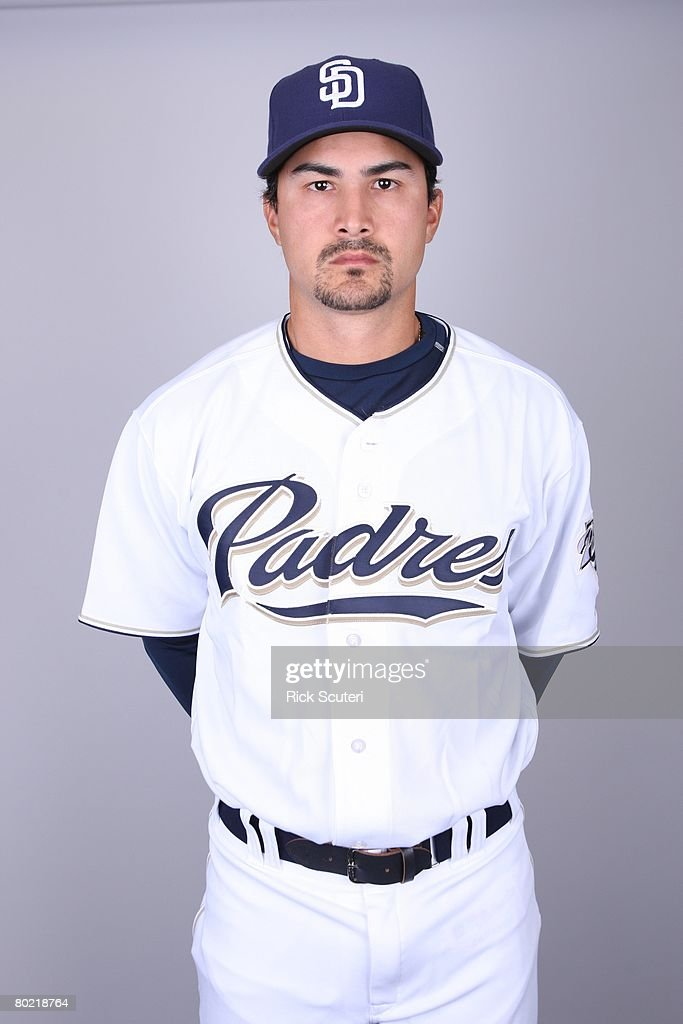 Edgar Gonzalez of the San Diego Padres poses for a portrait during photo day at Peoria Stadium on February 22, 2008 in Peoria, Arizona.