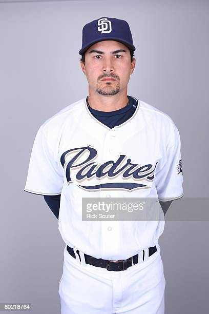 Edgar Gonzalez of the San Diego Padres poses for a portrait during photo day at Peoria Stadium on February 22 2008 in Peoria Arizona