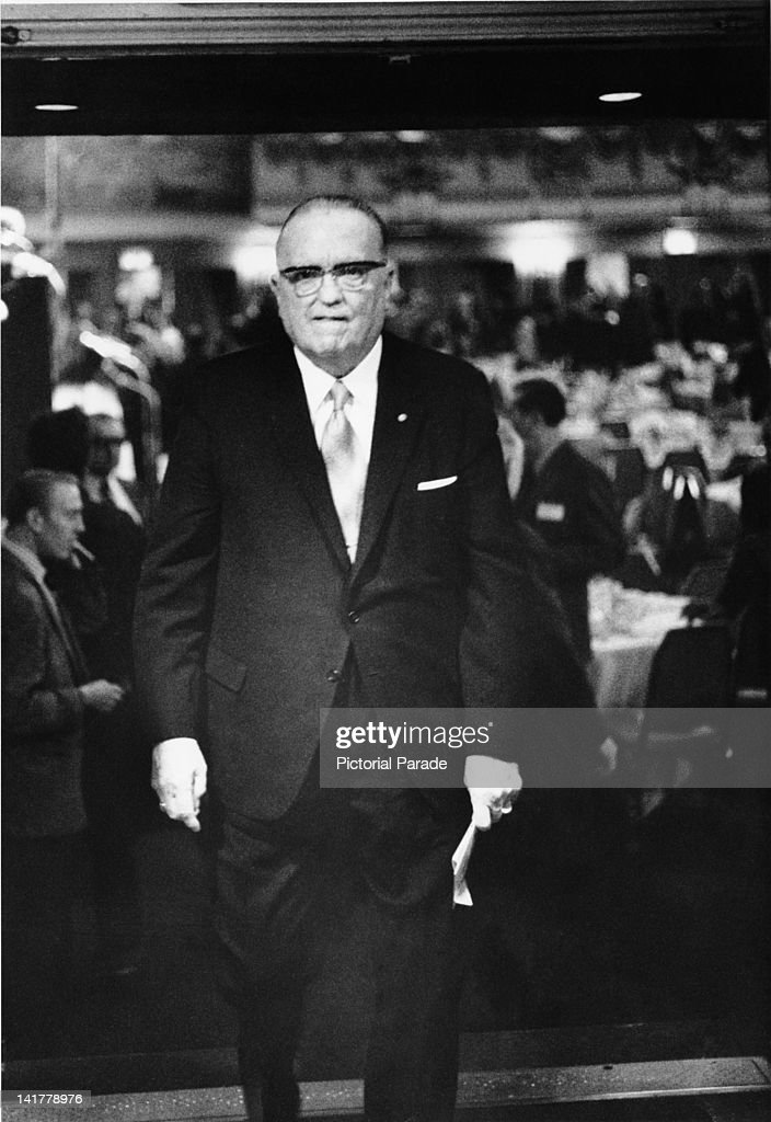 J Edgar Hoover (1895 - 1972), Director of the Federal Bureau of Investigation (FBI), at the annual Banshee Luncheon of the American Newspaper Publishers Association, at the Waldorf-Astoria Hotel, New York, 26th April 1972.