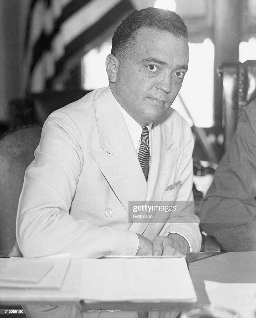 <a gi-track='captionPersonalityLinkClicked' href=/galleries/search?phrase=J.+Edgar+Hoover&family=editorial&specificpeople=93559 ng-click='$event.stopPropagation()'>J. Edgar Hoover</a>, of the US Department of Commerce, at the Greenwich Street Police Station, during the investigation of the Lindbergh Kidnapping case.