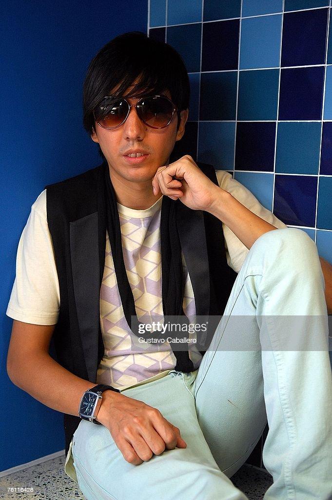 Edgar Huerta of pop group Belanova poses on August 15, 2007 in Miami Beach, Florida.