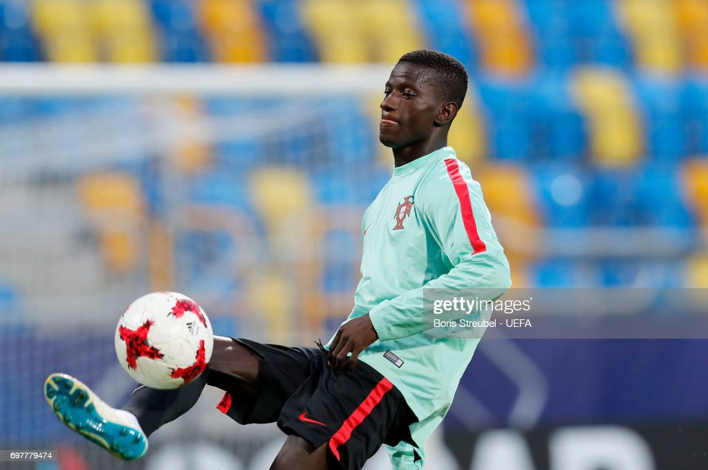 Edgar Ie controls the ball during the MD-1 training session of the U21 national team of Portugal at Gdynia Sports Arena on June 19, 2017 in Gdynia, Poland.