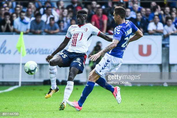 Edgar Ie of Lille and Jonas Martin of Strasbourg during the Ligue 1 match between Racing Club Strasbourg and Lille OSC at Stade de la Meinau on...