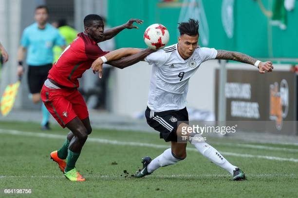 Edgar Le of Portugal und Davie Selke of Germany battle for the ball during the International Friendly match between Germany U21 and Portugal U21 at...