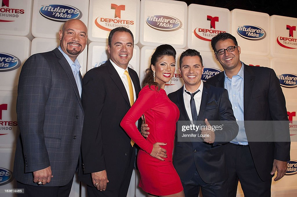 Edgar Lopez, Jorge Hidalgo, Mirella Grisales, Karim Mendiburu and Eli Velazquez attend Deportes Telemundo's celebration of their hit show 'Titulares Y Mas' at Ebanos Crossing on October 7, 2013 in Los Angeles, California.