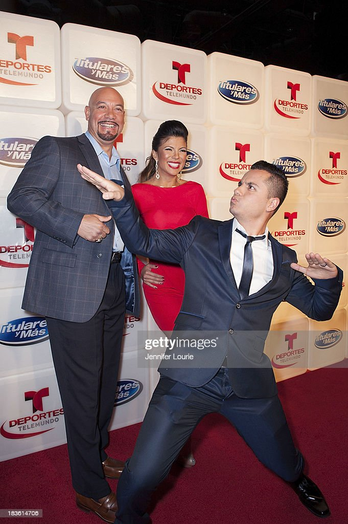 Edgar Lopez, Mirella Grisales and Karim Mendiburu attend Deportes Telemundo's celebration of their hit show 'Titulares Y Mas' at Ebanos Crossing on October 7, 2013 in Los Angeles, California.