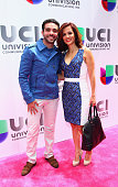 Edgar Martinez and journalist Adriana Monsalve attend Univision's 2015 Upfront at Gotham Hall on May 12 2015 in New York City