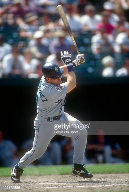 Edgar Martinez of the Seattle Mariners bats against the Baltimore Orioles during an Major League Baseball game circa 1995 at Oriole Park at Camden...