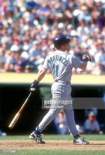 Edgar Martinez of the Seattle Mariners bats against the Oakland Athletics during an Major League Baseball game circa 1996 at the OaklandAlameda...