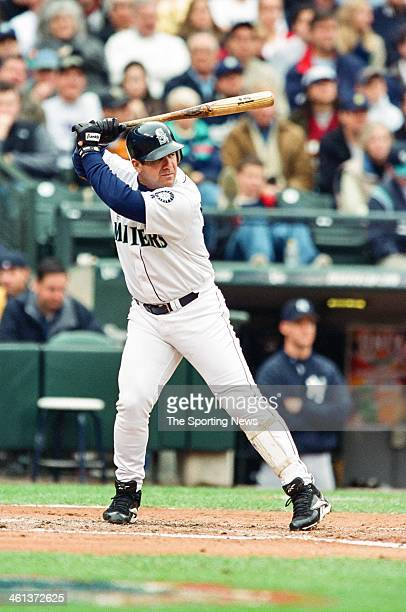 Edgar Martinez of the Seattle Mariners bats during Game Five of the American League Championship Series against the New York Yankees on October 15...