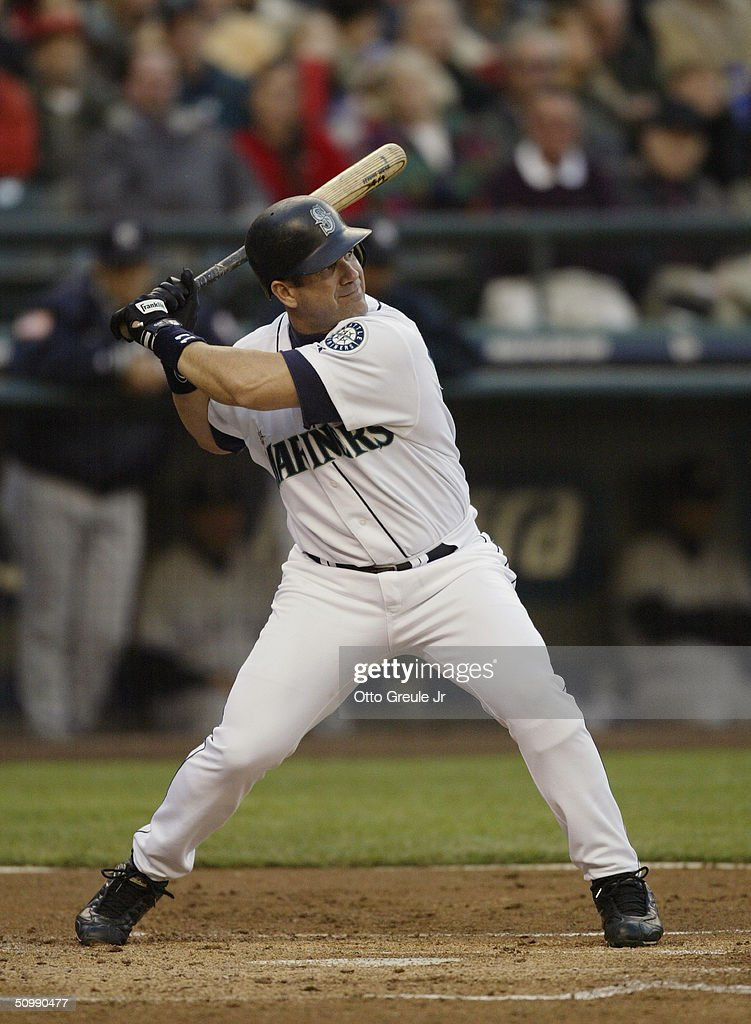 Edgar Martinez of the Seattle Mariners bats during the game against the New York Yankees on May 8 2004 at Safeco Field in Seattle Washington The...