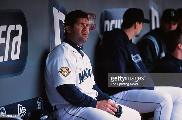 Edgar Martinez of the Seattle Mariners looks on against the Toronto Blue Jays at Safeco Field on May 5 2001 in Seattle Washington