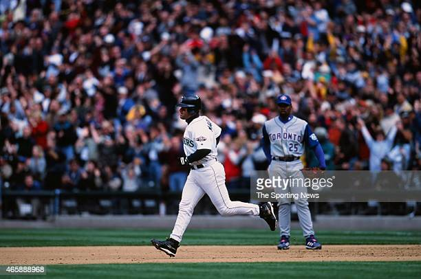 Edgar Martinez of the Seattle Mariners runs against the Toronto Blue Jays at Safeco Field on May 5 2001 in Seattle Washington