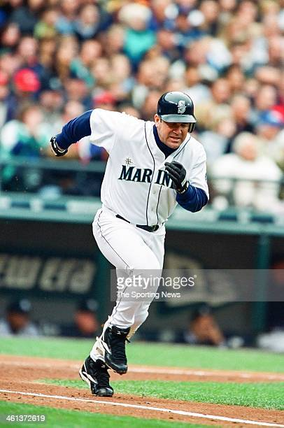 Edgar Martinez of the Seattle Mariners runs the bases during Game Five of the American League Championship Series against the New York Yankees on...