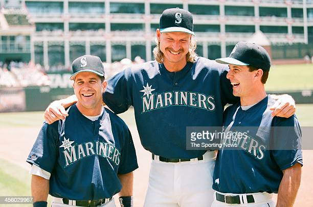 Edgar Martinez Randy Johnson and Tino Martinez of the Seattle Mariners during the 1995 All Star Weekend on July 10 1995 at The Ballpark at Arlington...