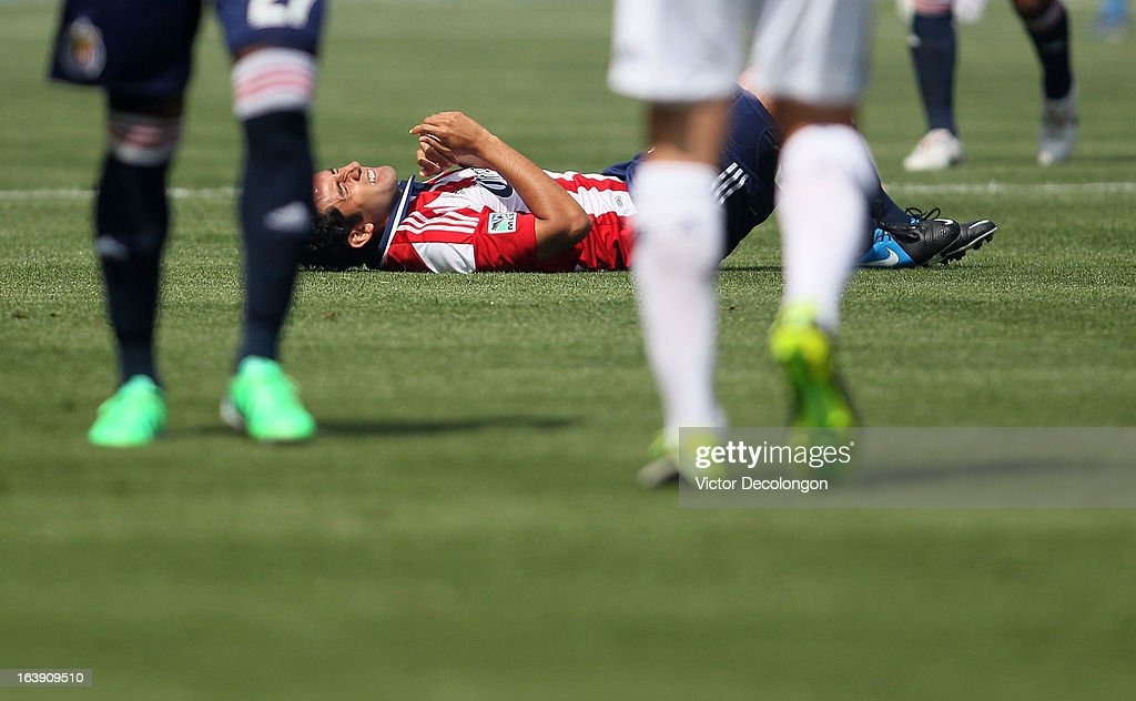 Edgar Mejia #8 of Chivas USA Galaxy grimaces in pain as he lays on the pitch during the MLS match against the Los Angeles Galaxy at The Home Depot Center on March 17, 2013 in Carson, California. Chivas USA and the Los Angeles Galaxy played to a 1-1 draw.