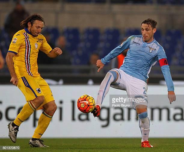 Edgar Osvaldo Barreto of UC Sampdoria competes for the ball with Lucas Biglia of SS Lazio during the Serie A match betweeen SS Lazio and UC Sampdoria...