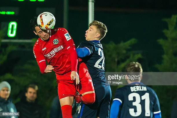 Edgar Prib of Hannover 96 and Mitchell Weiser of Hertha BSC battle for the ball during the Friendly Match between Hannover 96 and Hertha BSC at...