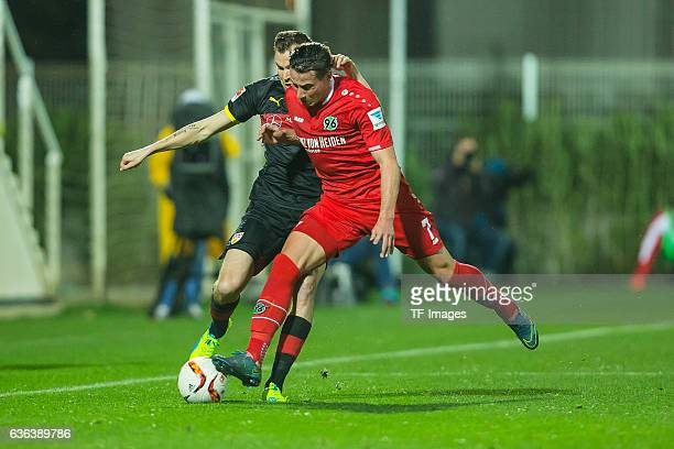 Edgar Prib of Hannover 96 battle for the ball during the Friendly Match between Hannover 96 and VfB Stuttgart at trainings camp on January 13 2016 in...