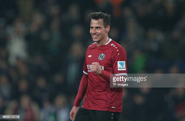 Edgar Prib of Hannover after scoring his teams goal during the friendly match between Hannover 96 an FC Schalke 04 at HDIArena on March 23 2017 in...