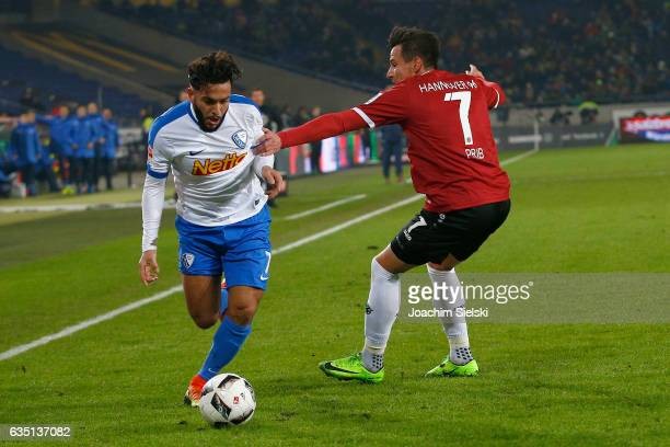 Edgar Prib of Hannover challenges Selim Guenduez of Bochum during the Second Bundesliga match between Hannover 96 and VfL Bochum 1848 at HDIArena on...