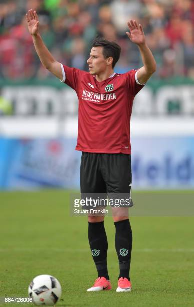 Edgar Prib of Hannover reacst during the Second Bundesliga match between Hannover 96 and 1 FC Nuernberg at HDIArena on April 4 2017 in Hanover Germany