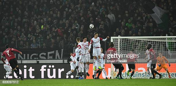 Edgar Prib of Hannover takes a free kick during the Second Bundesliga match between Hannover 96 and 1 FC Kaiserslautern at HDIArena on January 30...