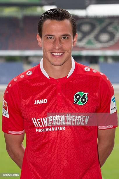 Edgar Prib poses during the team presentation of Hannover 96 at HDIArena on July 13 2015 in Hanover Germany