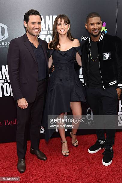 Edgar Ramirez Ana de Armas and Usher attend the 'Hands Of Stone' US premiere at SVA Theater on August 22 2016 in New York City