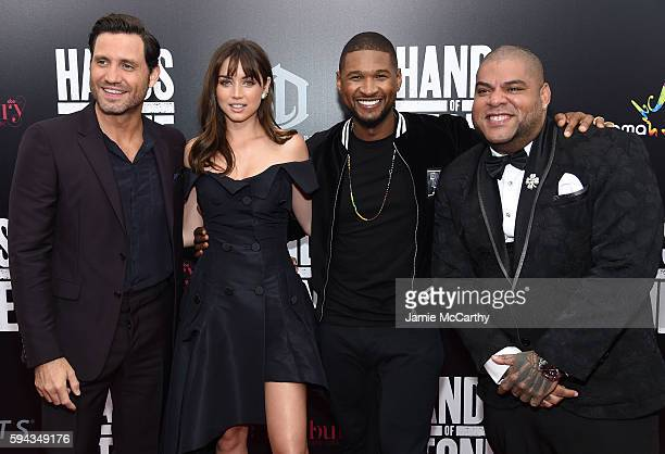 Edgar Ramirez Ana de Armas Usher and Pedro Perez attend the 'Hands Of Stone' US premiere at SVA Theater on August 22 2016 in New York City