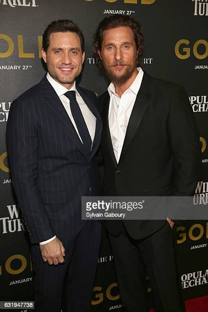 Edgar Ramirez and Matthew McConaughey attend TWCDimension with Popular Mechanics The Palm Court Wild Turkey Bourbon Host the Premiere of 'Gold' at...