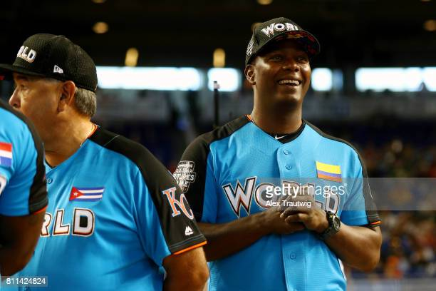 Edgar Renteria looks on during player introductions prior to the SirusXM AllStar Futures Game at Marlins Park on Sunday July 9 2017 in Miami Florida