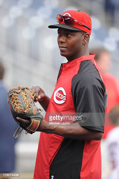Edgar Renteria of the Cincinnati Reds looks on before a baseball game against the Washington Nationals at National Park on August 18 2011 in...