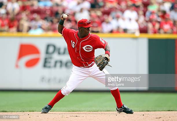 Edgar Renteria of the Cincinnati Reds throws to first base during the game against the San Diego Padres at Great American Ball Park on August 14 2011...
