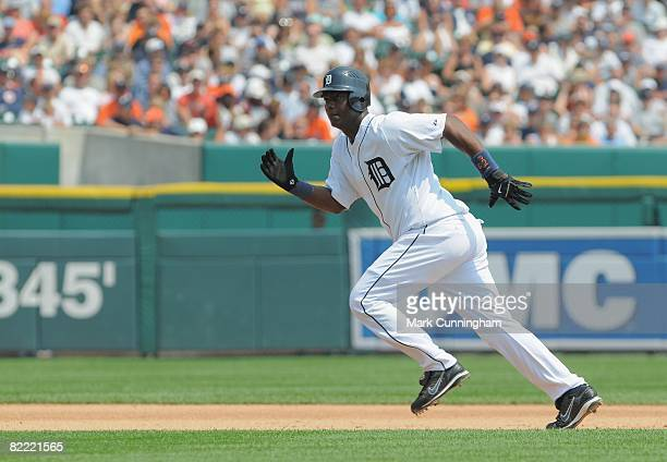 Edgar Renteria of the Detroit Tigers runs during the game against the Chicago White Sox at Comerica Park in Detroit Michigan on July 27 2008 The...