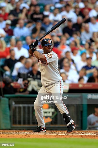 Edgar Renteria of the San Francisco Giants during the game against the Houston Astros on Opening Day at Minute Maid Park on April 5 2010 in Houston...