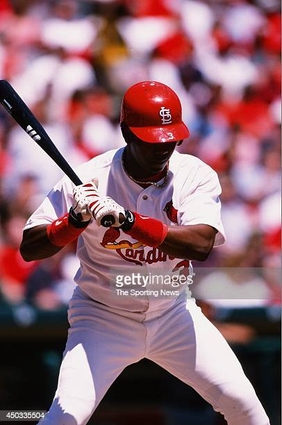 Edgar Renteria of the St Louis Cardinals bats against the Colorado Rockies at Busch Stadium on April 29 1999 in St Louis Missouri The Rockies beat...