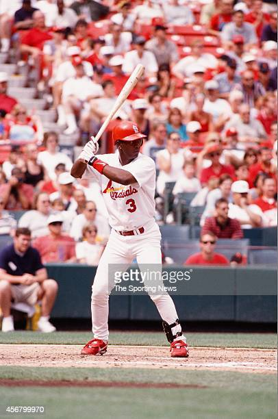 Edgar Renteria of the St Louis Cardinals bats against the Detroit Tigers on June 13 1999 at Busch Stadium in St Louis Missouri