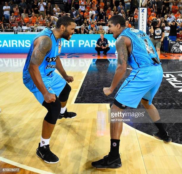 Edgar Sosa and DJ Newbill of the Breakers celebrates after winning the round five NBL match between the Cairns Taipans and the New Zealand Breakers...