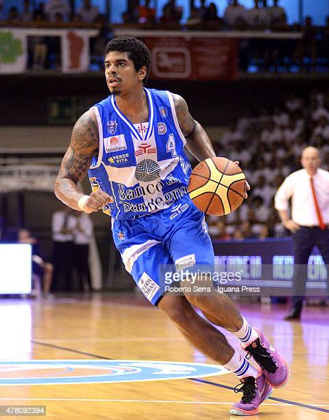 Edgar Sosa of Banco di Sardegna competes during match 1 of the final series of the Italian LegaBasket Serie A between Grissin Bon Reggio Emilia and...