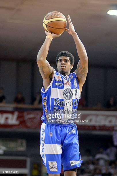 Edgar Sosa of Banco di Sardegna in action during match 1 of the final series of the Italian LegaBasket Serie A between Grissin Bon Reggio Emilia and...