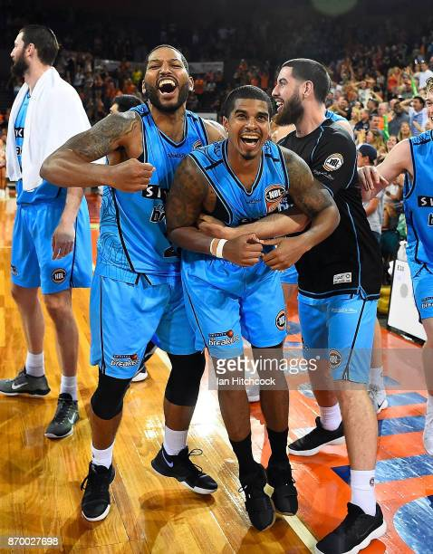 Edgar Sosa of the Breakers celebrates after scoring the game winning shot at the end of the round five NBL match between the Cairns Taipans and the...