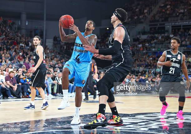 Edgar Sosa of the Breakers controls the ball during the round three NBL match between Melbourne United and the New Zealand Breakers at Hisense Arena...